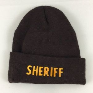 Sheriff Embroidered Beanie - Brown OSFM